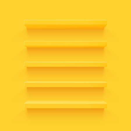 Yellow 3d shelf on the wall. Wooden horizontal realistic empty shelf. Illusztráció