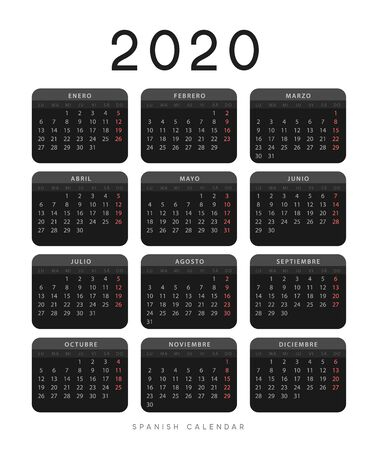 Calendar for 2020 year. Week starts on Monday. planner for 12 months. Vector calender in Spanish 矢量图像