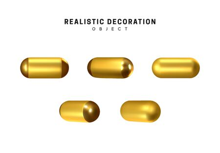 Golden geometric 3d object isolated on white background. Gold metallic geometry elements. Realistic vector illustration.