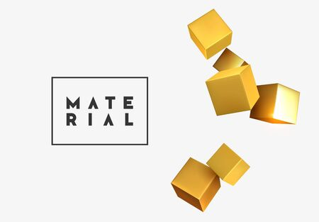 Abstract background golden 3d cubes blur effect. cub backdrop. Vector illustration.