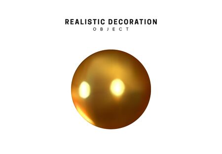 Gold geometric shapes 3d round spherical objects. metal balls design elements. Golden decorative element isolated on white background. Realistic vector illustration.
