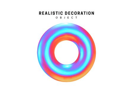 Realistic shape 3d objects with gradient holographic color of hologram. Decorative design elements isolated on white background. vector illustration