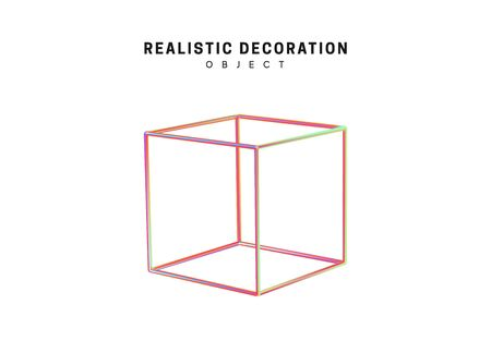 Shaped linear square, cube Realistic shape 3d objects with gradient holographic color of hologram. Geometric decorative design elements isolated on white background. vector illustration.