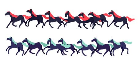 Set of vector horses isolated on white background. Collection of purebred thoroughbred horses in flat modern style. Vektorgrafik
