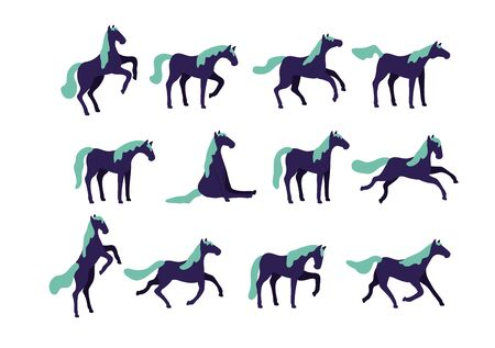 Set of vector horses isolated on white background. Collection of purebred thoroughbred horses in flat modern style.