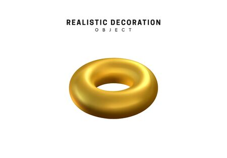 Isolated 3d object Shapes torus, bagel with hole, metal donut. Gold color element Vector Illustration