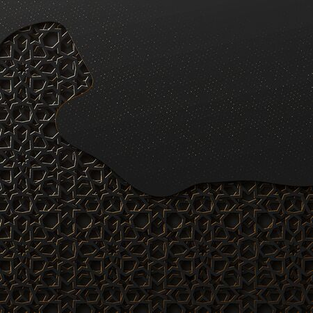 Black and gold background with geometric texture tunnel style cut out paper embossing pattern Ilustração