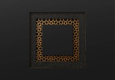 Black and gold background with geometric texture tunnel style cut out paper embossing pattern Vectores