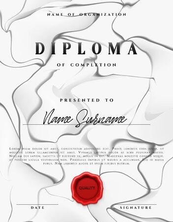 Template design of the certificate. Vector diploma Illustration