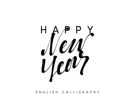 Text Happy New Year. Xmas calligraphy lettering. 일러스트