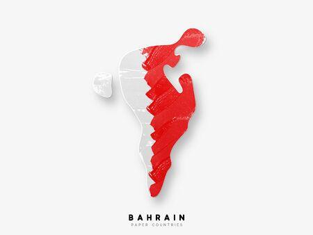 Carte détaillée de Bahreïn avec le drapeau du pays. Peint dans des couleurs de peinture à l'aquarelle dans le drapeau national.