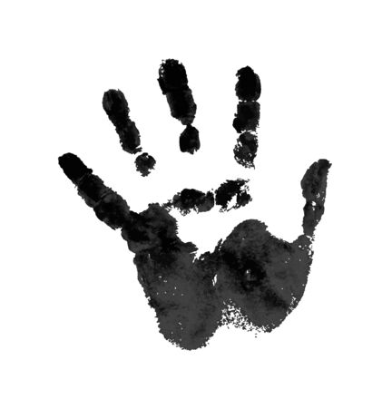 Hand in the black blood. Bloody handprint on white background