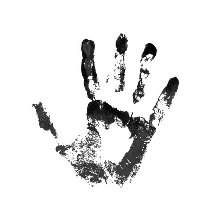 Hand in the black blood. Bloody handprint on white background Illustration