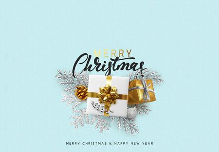 Merry Christmas and Happy New Year. Xmas Festive background with realistic design elements. Holiday Objects, gift box, decorative pine branches. Greeting card, banner, poster. Top view flat lay. Ilustração