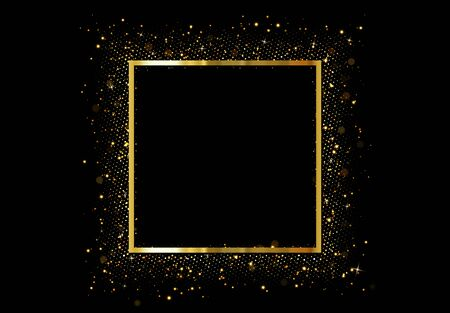 Golden frame with bright sparkles. Christmas decorative design elements. Xmas gold decorations. Glitter border with space for text. vector illustration Ilustrace