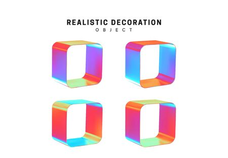 Set through and hollow cubes. Square Realistic geometric shapes with holographic color gradient. Hologram decorative design elements isolated white background. 3d objects shaped blue color. vector