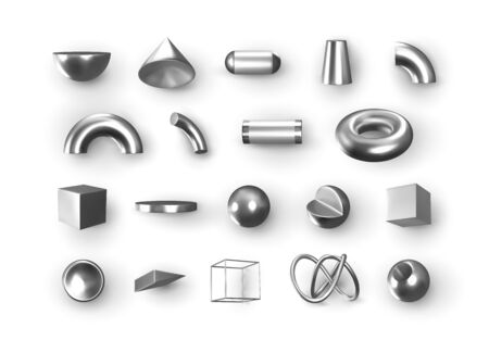 Set of 3d Silver Geometric Shapes Objects. Realistic geometry elements isolated on white background, on metallic color gradient. Render Decorative white figure for design. vector illustration Ilustração