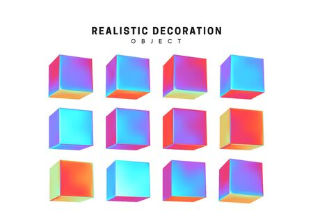 Set Cube. Square Realistic geometric shapes with holographic color gradient. Hologram decorative design elements isolated white background. 3d objects shaped blue color. vector illustration. Illusztráció