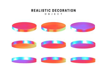 Set flat round plates round timber. Realistic geometric shapes with holographic color gradient. Hologram decorative design elements isolated white background. 3d objects shaped blue color. vector Иллюстрация