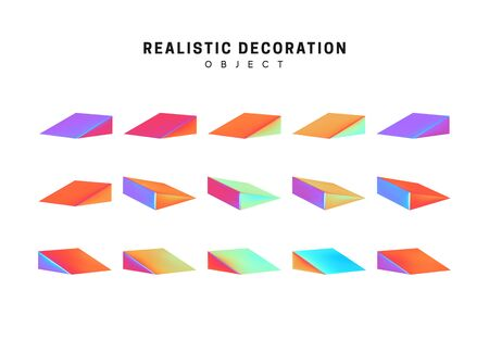 Set triangle sharp flat volumetric. Realistic geometric shapes with holographic color gradient. Hologram decorative design elements isolated white background. 3d objects shaped blue color. vector Иллюстрация