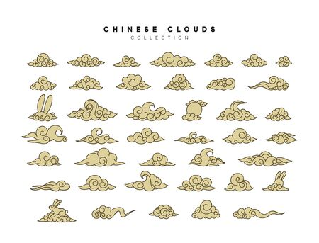 Collection of gold clouds in Chinese style.