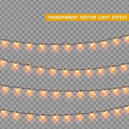 Christmas lights. Xmas glowing lights. Set lights Garlands isolated realistic design elements. Christmas decorations. Holiday Led neon lamp. New Years festive decor. Vector illustration.