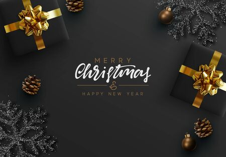 Christmas Black Background. Xmas design realistic gifts box, black snowflake and glitter silver, pine cones, decorative bauble. handwritten calligraphy text merry christmas and happy new year.