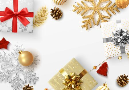 Christmas background. Xmas festive decoration objects. Realistic elements of design. Merry Christmas and Happy New Year Holiday template. greeting card, web poster. flat top view. vector illustration Vettoriali