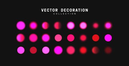Glowing lilac bokeh lights. Sparkles vibrant blurry round dots glow texture. Set of design elements.