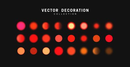 Glowing red orange bokeh lights. Sparkles vibrant blurry round dots glow texture. Set of design elements. 向量圖像