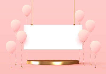 Balloons and presentation platform. Stage podium. Banner template with realistic group of helium balloons in pink color with golden stand. Round gold pedestals isolated mockup. vector illustration