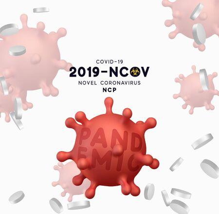 Novel Coronavirus (2019-nCoV). Virus Covid 19-NCP. Coronavirus nCoV denoted is single-stranded RNA virus. Background with realistic 3d red virus cells. vector illustration. 向量圖像