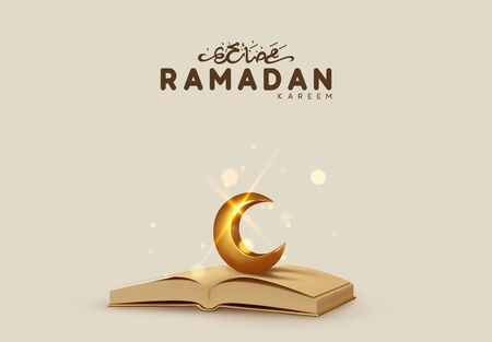 Ramadan Kareem Background. The Qur'an is the holy book of Muslims. Realistic 3d design. Vector illustration