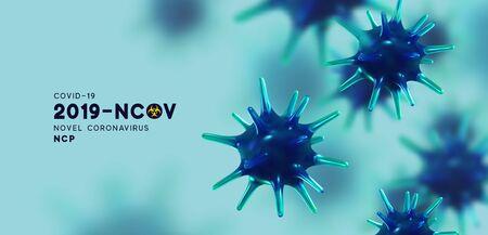 Novel Coronavirus (2019-nCoV). Virus Covid 19-NCP. Coronavirus nCoV denoted is single-stranded RNA virus. Background with realistic 3d blue viruses cells. Viral bacteria. vector illustration.