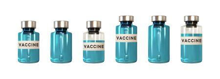 Vaccine by Virus. Vaccines bottle isolated. Set Realistic 3d glass ampoules with medicine. vector illustration.