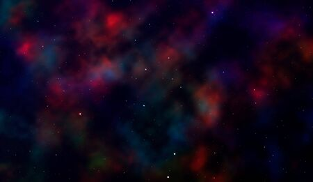 Space background Fantastic outer view with realistic bright stars and cluster of gas clouds. Universe with nebulae, galaxies and star clusters. Infinite cosmic open spaces. Vector illustration