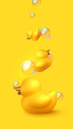 Yellow duck rubber. Background Realistic 3d duck with soap bubbles, toy for bath procedure. Vector illustration