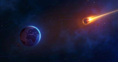 Fondo espacial con planeta tierra y cometa ardiente. Un asteroide gigante se acerca a la tierra. Enfoque de meteorito realista. Ilustración vectorial