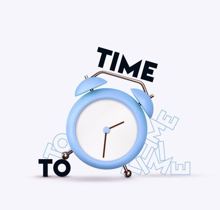 Clock 3d Vector. Blue Alarm clock realistic of plastic in soft pastel colors. Time to the watch. Illustration