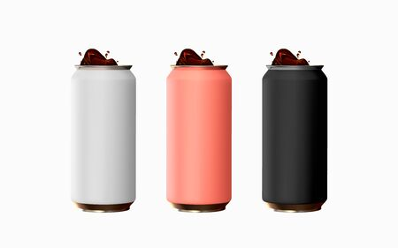 Set of realistic iron cans. Mock up for your design. Big cans template the liquid and drink. 3d isolated objects on white background. Black pink and white. Vector illustration Ilustración de vector