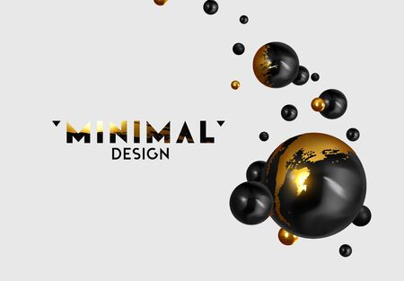 Abstract background with 3d spheres. Realistic group balls of black and gold color. modern minimal design with levitation balls. Glossy bubbles. Trendy banner or poster, cover. Vector illustration Ilustración de vector