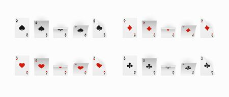 Playing Cards Set of four aces. Vector illustration