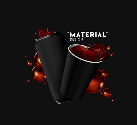 Realistic iron cans and Paper Cup with drink tea, coffee, spray, splashing fluid coke. Mock up for your design. 3d isolated objects on black background. Template banner, poster. Vector illustration
