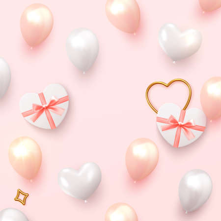 Background Romantic and wedding. Holiday design realistic gifts box with heart shape, pink and white balloon. vector illustration