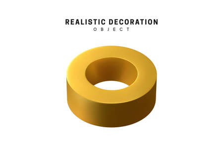 round golden nut, washer, donut ant tor metal. 3d objects realistic metallic gold color. Geometric elements isolated on white background. Geometry shapes. vector illustration