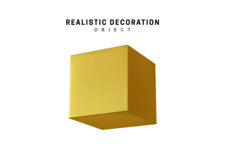 Golden cube ant tor metal. 3d object Shapes cube and geometric block, square. isolated on white background. Vector illustration Ilustração