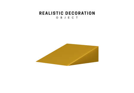 Golden geometric 3d object isolated on white background. Gold metallic geometry elements. Realistic acute triangle vector illustration.