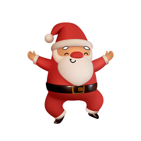 Happy Santa Claus in red clothes is jumping. Realistic 3d character compatible doodle emoji elements on face. Isolated on white background for Xmas festive design. Vector illustration