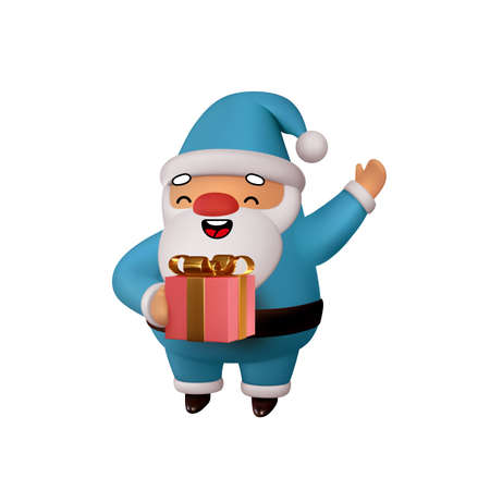 Joyful Santa Claus with gift in his hands. Realistic 3d character compatible doodle emoji elements on face. Isolated on white background for Xmas festive design. Vector illustration Illustration