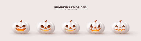 Halloween Set of pumpkin for holiday. Realistic 3d white pumpkins with cut scary good joy smile. Collection of 3d objects. Design elements isolated on light background. Vector illustration Illusztráció